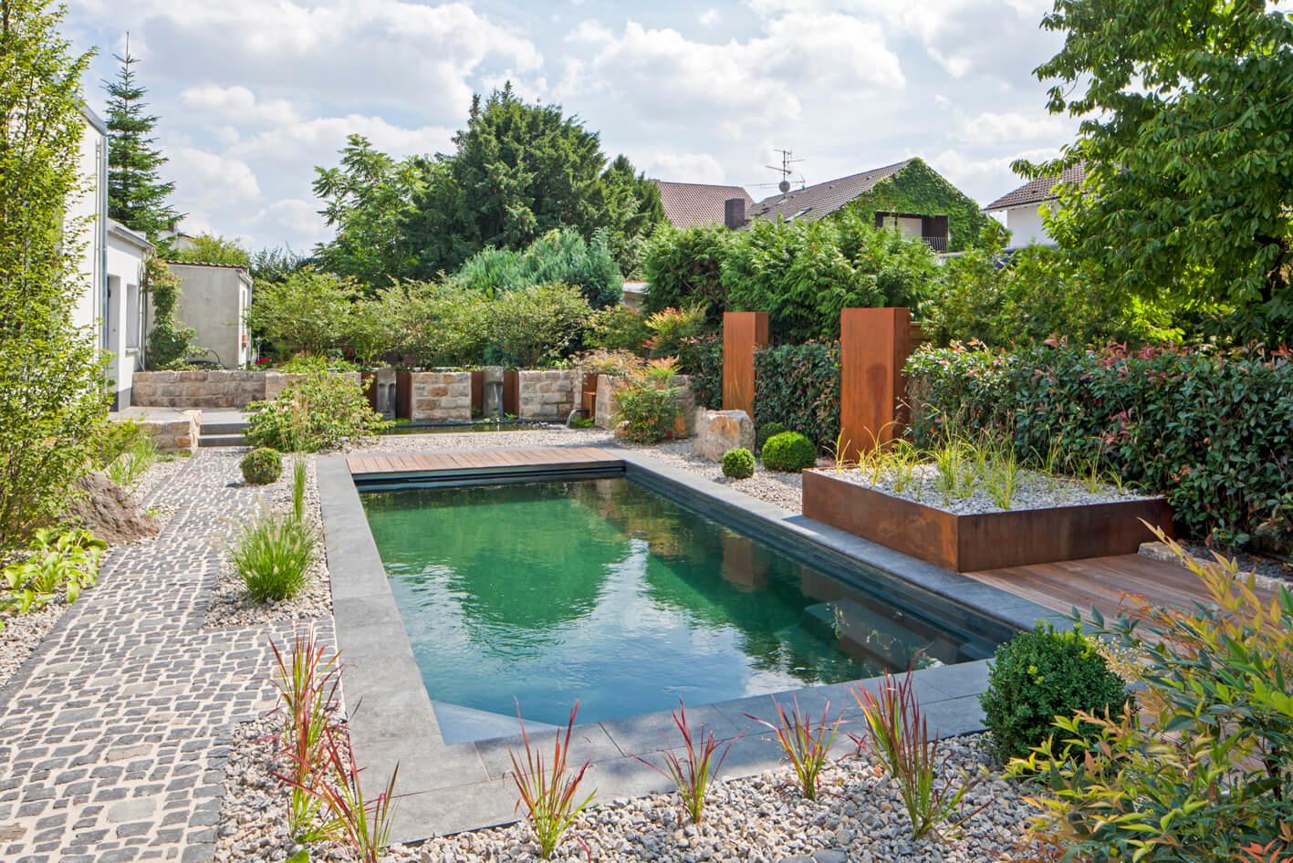 Fertigbecken gartenbau gartenplanung landschaftsbau for Garten pool chlor